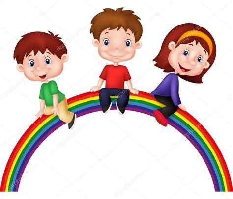 Imagenes Niños Sentados   ni 241 os de dibujos animados sentados en arco iris vector