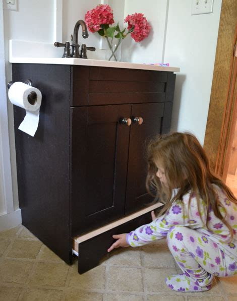 Bathroom Vanity With Pull Out Step Stool by White Vanity Step Drawer Diy Projects