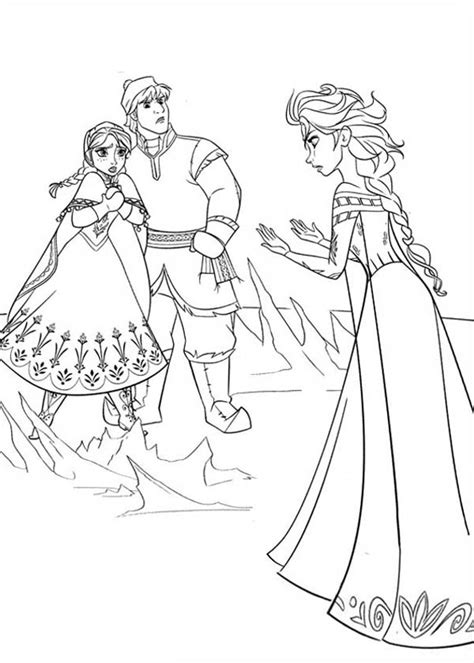 frozen coloring pages anna and elsa and olaf anna and kristoff in arguing with elsa coloring page free
