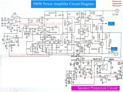 circuit schematic power lifier 500w with speaker protection electronic