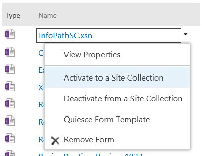 site collection template how to configure and publish infopath to sharepoint 2013