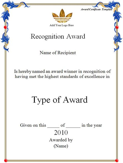certificate templates for word 2007 award certificate template word excel formats
