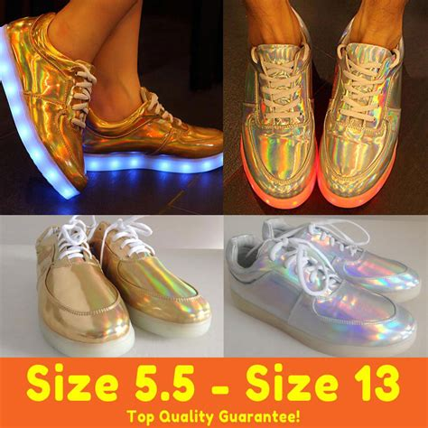 white and gold light up shoes top new hologram led shoes light up for adults women men