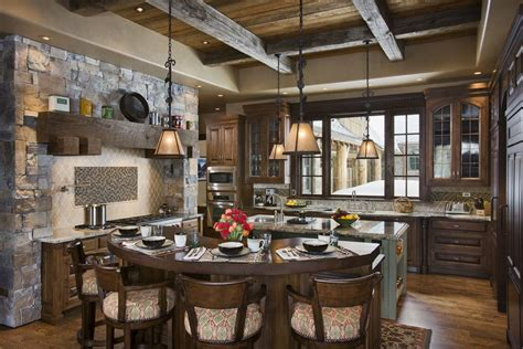 rustic kitchen with high ceiling by locati architects