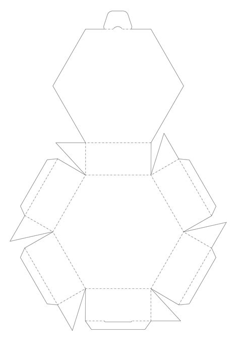 blank six sided printable box template aka hexagon
