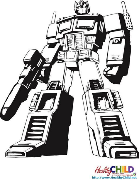 Optimus Prime Coloring Page by Optimus Prime Standing Transformers Coloring Pages