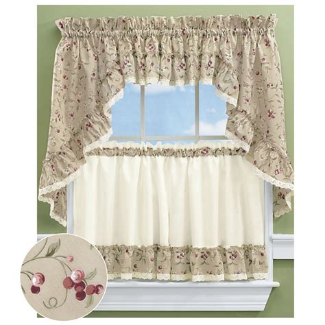 cherries ruffled kitchen tier curtains