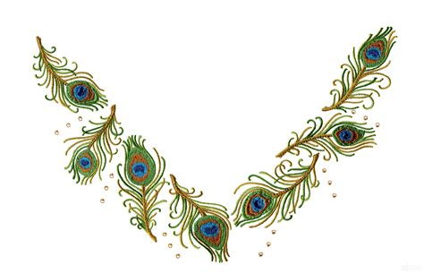 embroidery design of peacock peacock feather jeweled neckline embroidery design