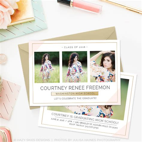 graduation announcements templates for photographers senior graduation announcement template chic minimalist