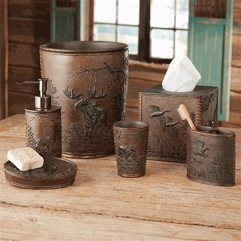 moose bathroom set forest wildlife bath accessories