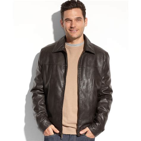 Hilfiger Brown Leather 1791056 lyst hilfiger faux leather jacket in brown for