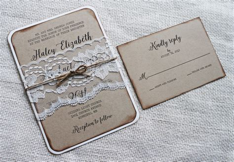 rustic wedding invitation vintage lace wedding invitation