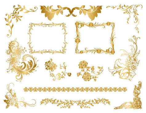 Gold Leaf Chandelier Flourish Border Clip Art 53