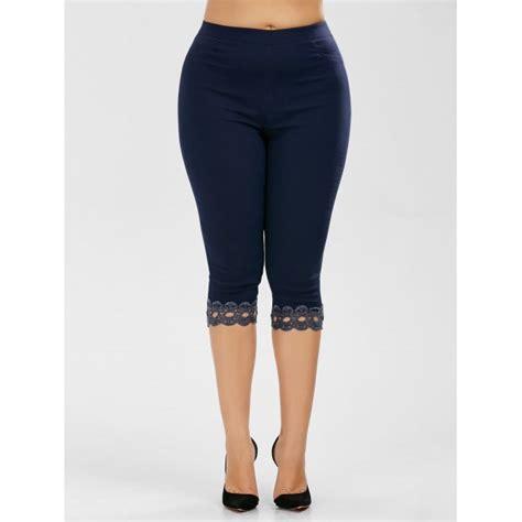 plus size light blue leggings wholesale plus size lace trim high waist capri leggings xl
