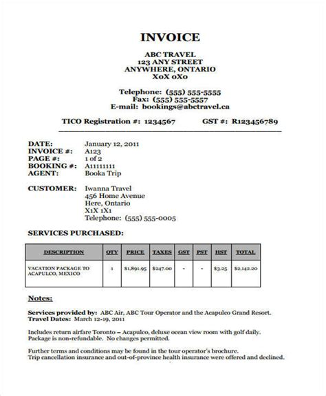 travel invoice template 11 travel invoice free sle exle format
