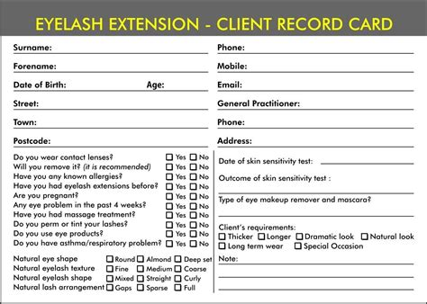 eyelash extensions record card template eyelash extension forms record consultation cards