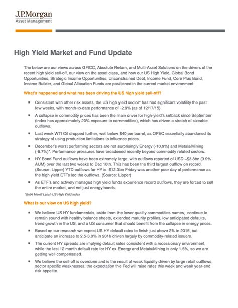 jp high yield fund advisorselect high yield market and fund update