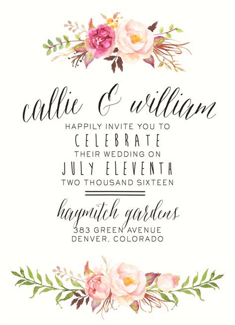 layout of invitation floral wedding invitations floral wedding invitations with