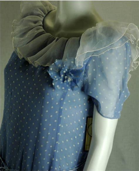 Polky Dress Ori Gamis Polka vtg 1950 summer blue polka dot chiffon dress for sale antiques classifieds