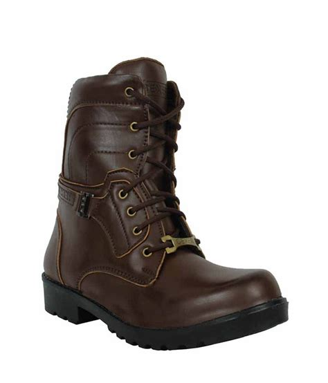 elvace brown synthetic leather boots price in india buy