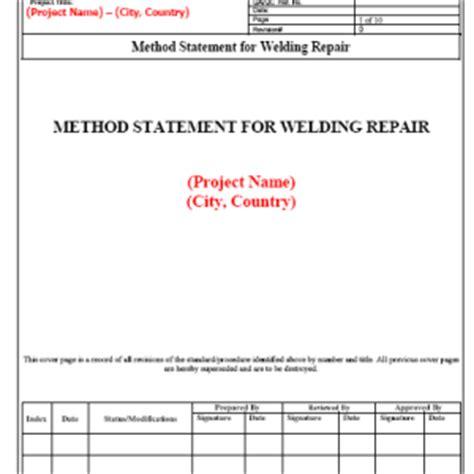Exle Method Statements Work Method Statement Exle Neca Safe Online Safety Management Weld Repair Procedure Template