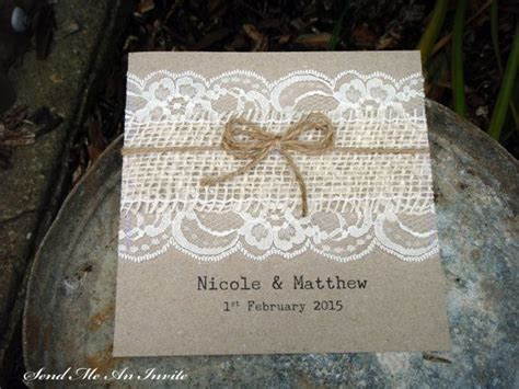 hessian wedding invitations wedding invitation square rustic lace and hessian with jute string on recycled kraft card