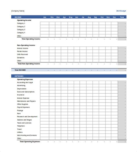commercial budget template 13 business budget templates free sle exle