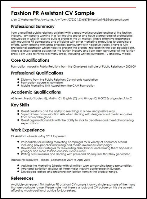 Pr Assistant Sle Resume by Fashion Pr Assistant Cv Sle Myperfectcv