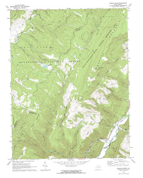 Spruce Knob Trail Map by Spruce Knob Topographic Map Wv Usgs Topo 38079f5