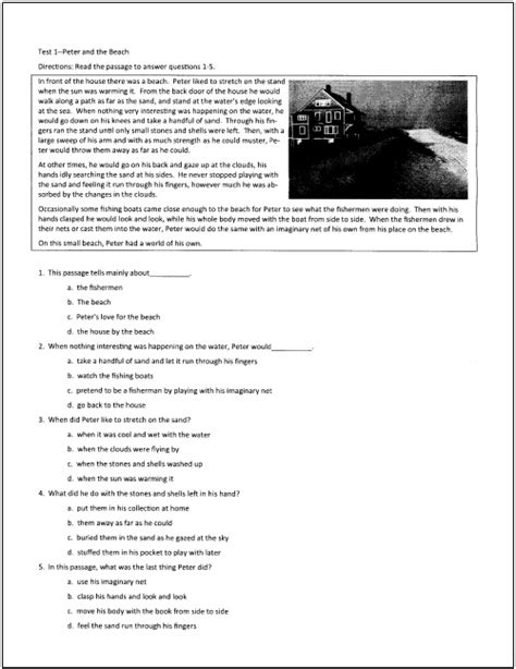 printable reading comprehension test high school reading comprehension worksheets pdf