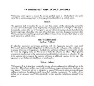 Hvac Service Contract Template by Maintenance Contract Template 9 Free Documents