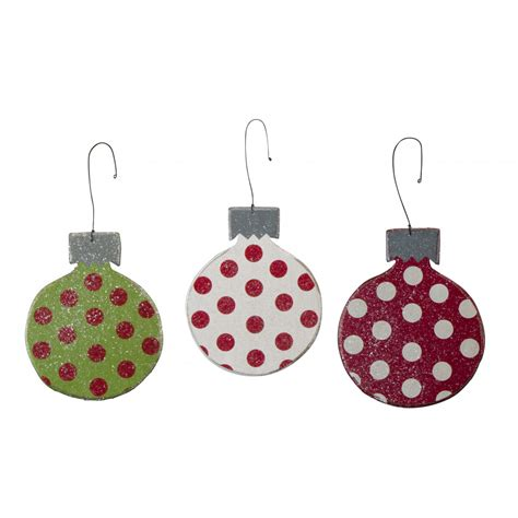 wooden polka dot christmas ornaments set of 3 23156