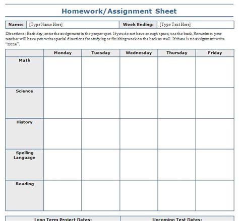 weekly assignments printable planners and college