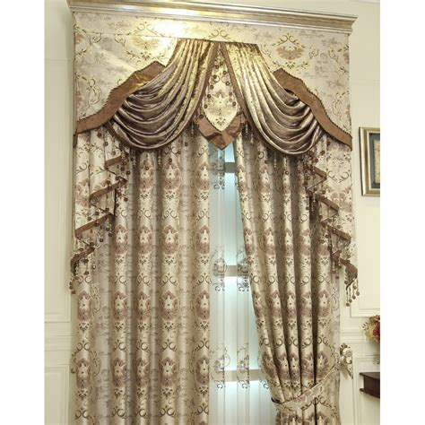 floral jacquard curtains coffee floral jacquard polyester luxury valance curtains