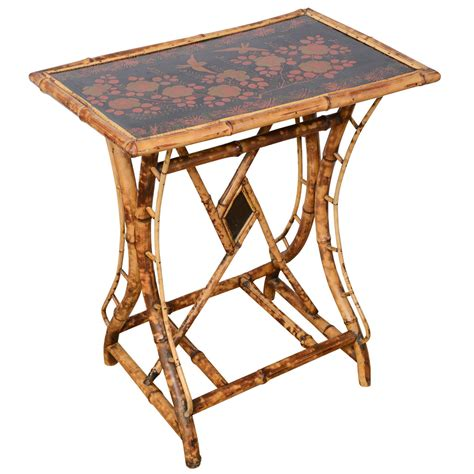 Bamboo Side Table 19th Century Bamboo Tray Top Side Table At 1stdibs