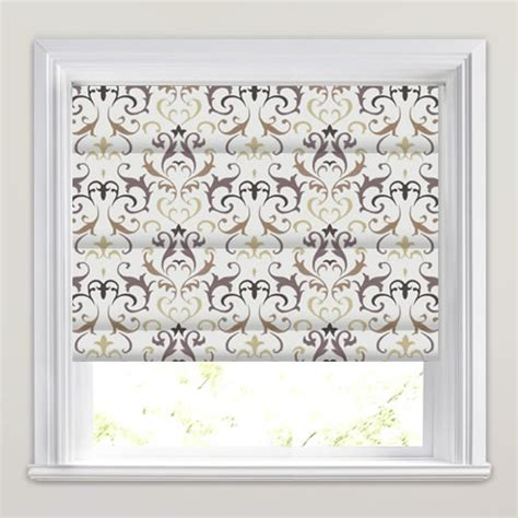 brown patterned roman blinds brown beige cream embroidered damask patterned roman blinds