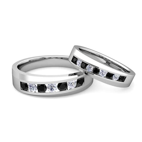 his and hers matching wedding band platinum black ring