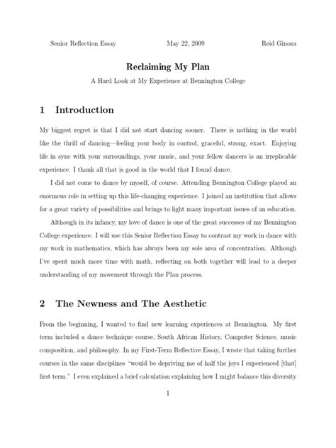 Reflective Essays On Learning Experiences by Reflective Essay College Experience