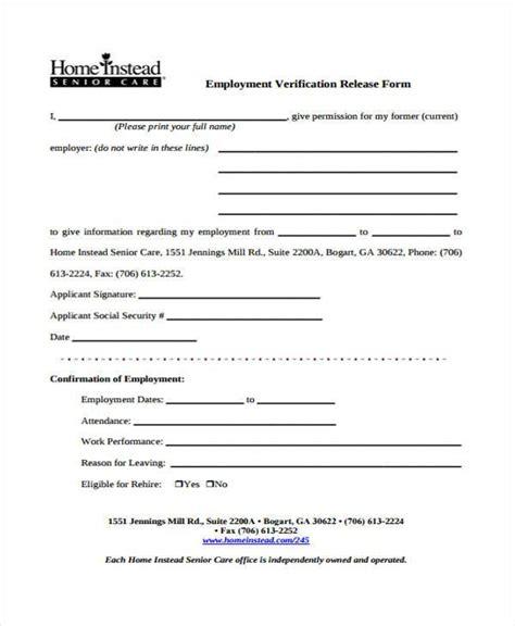 Employment Form Templates Employment Verification Release Form Template