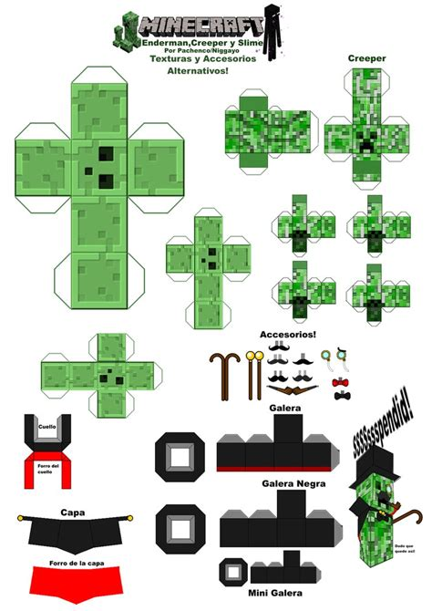 minecraft papercraft texturas y accesorios alterno by
