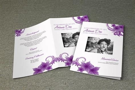 purple flower funeral program template printable memorial