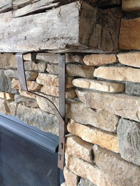 Mantel Supports Vintage Pair Iron Brackets For Barn Wood Beam Fireplace