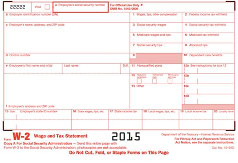 Understanding Your Forms W 2 Wage Tax Statement 2015 W 2 Form Template