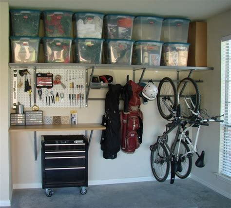 garage ideas using storage totes on shelves is a