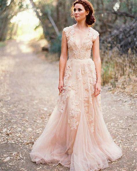 v neck lace wedding dresses 2016 a line bridal gowns