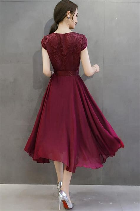 Dress Top Bow tomcarry silk printed top bow waist prom dress