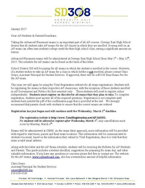 Parent Letter Regarding Testing oehs testing information ap information