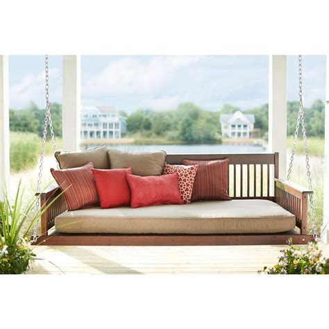 Daybed Porch Swing Plantation 2 Person Daybed Wooden Porch Patio Swing 854dbstf Rta The Home Depot