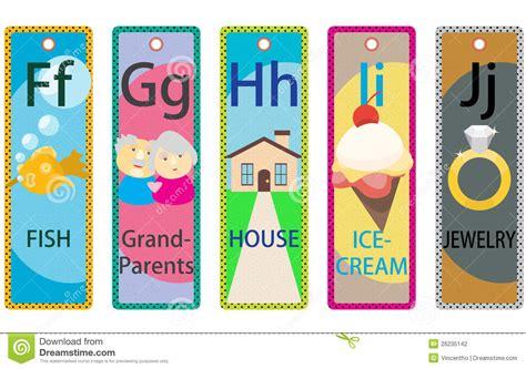 Printable Educational Bookmarks | alphabet kids educational bookmarks collection f j stock