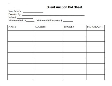 Auction Bid Sheet Template by Silent Auction Template Doliquid